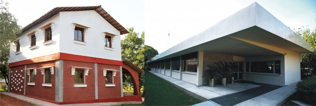 TARAgram Orchha Office building and the SDC building at Swiss Embassy made from low carbon cement based building materials