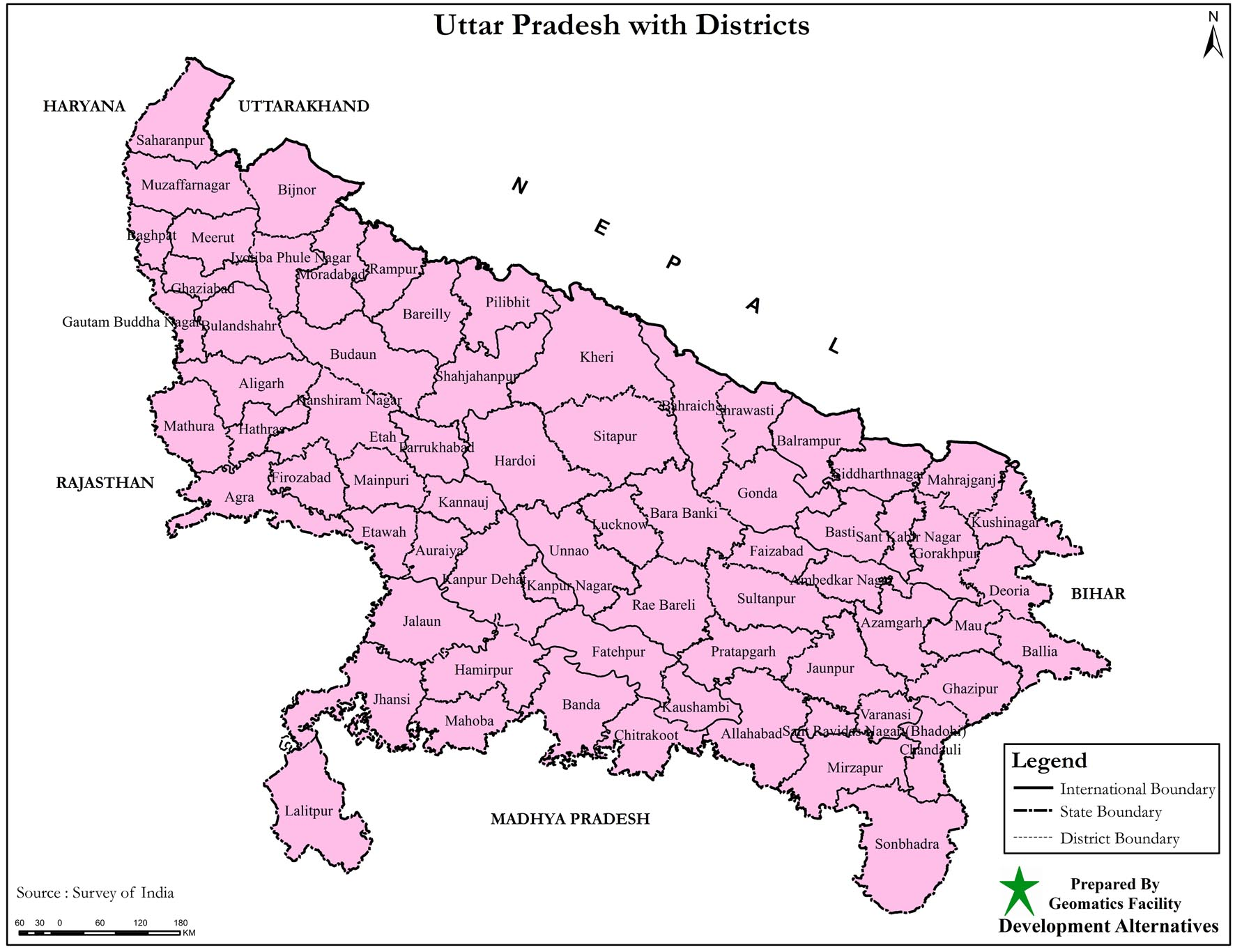 Political Map of Uttar Pradesh