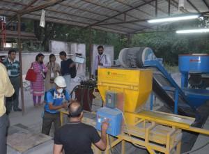 Showcasing flyash brick technology to Yatris at TARA Machines and Tech Services Pvt. Ltd, Ghitorni